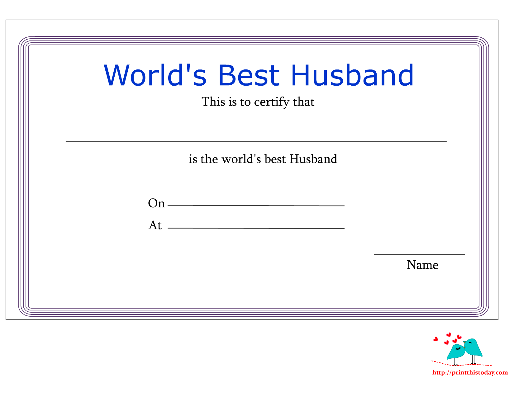 Free printable worlds best husband certificates love certificate for husband yelopaper Images