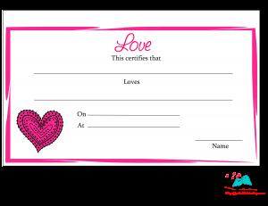 Free Printable Lover Certificate
