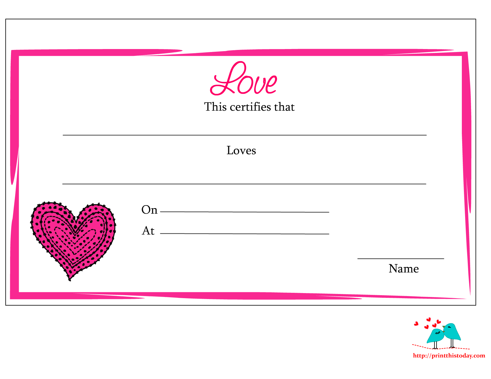 free printable love certificate - Pages Certificate Templates Free