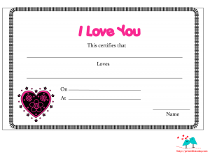 I love you certificate