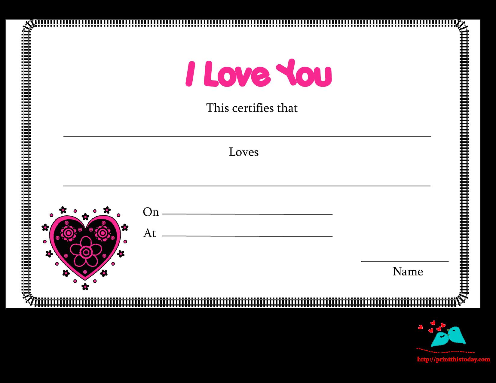 Free printable love certificates i love you certificate alramifo Choice Image