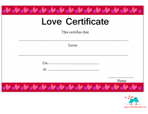 Love certificate with border of hearts