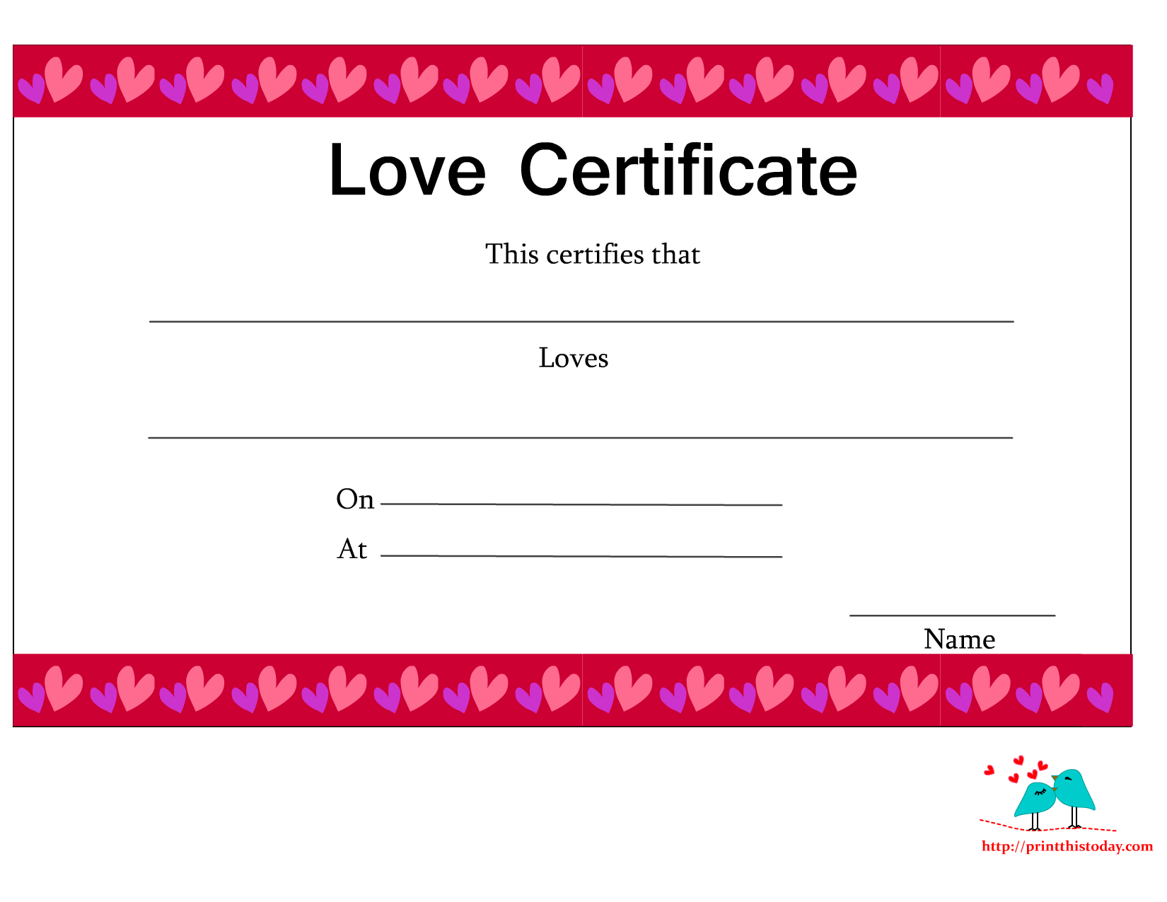 Free Printable Love Certificates