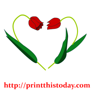 Two flowers making a heart Clip Art