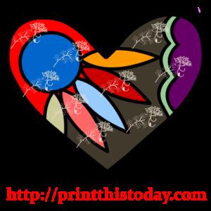 Colorful Floral Heart Clip Art