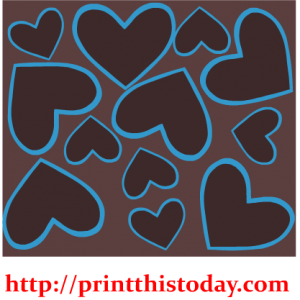 Brown and Blue hearts pattern