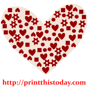 Heart with geometrical patterns and flowers Clip Art