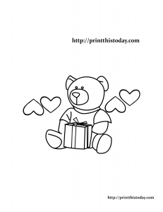 Teddy Bear and Gift Box Coloring Page