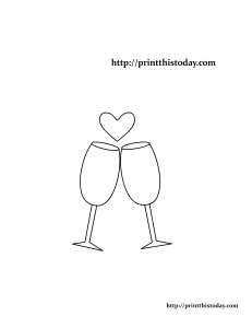 Wine glasses and heart coloring page for Valentine's day