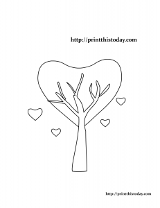 Love Tree Coloring Page