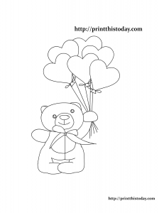 Coloring Page with Teddy Bear and Balloons
