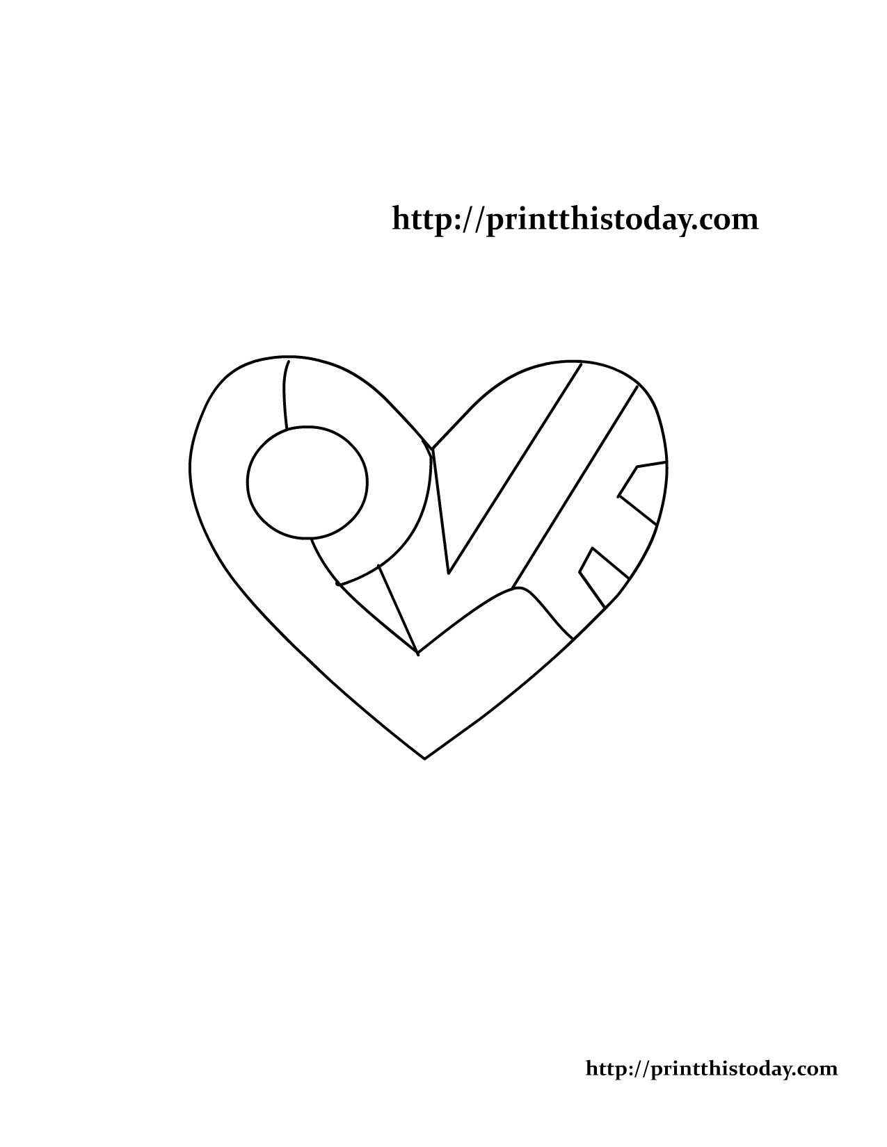 Free printable coloring pages with words - Word Love Written Inside A Heart Coloring Page