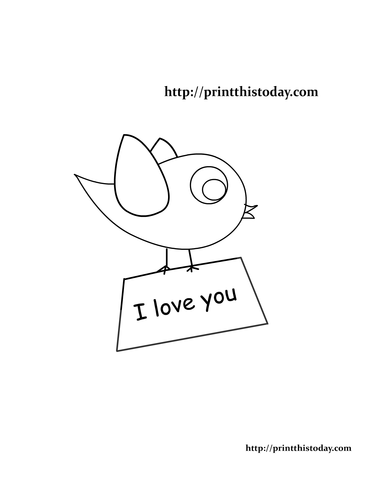 Love Bird Coloring Page Printable