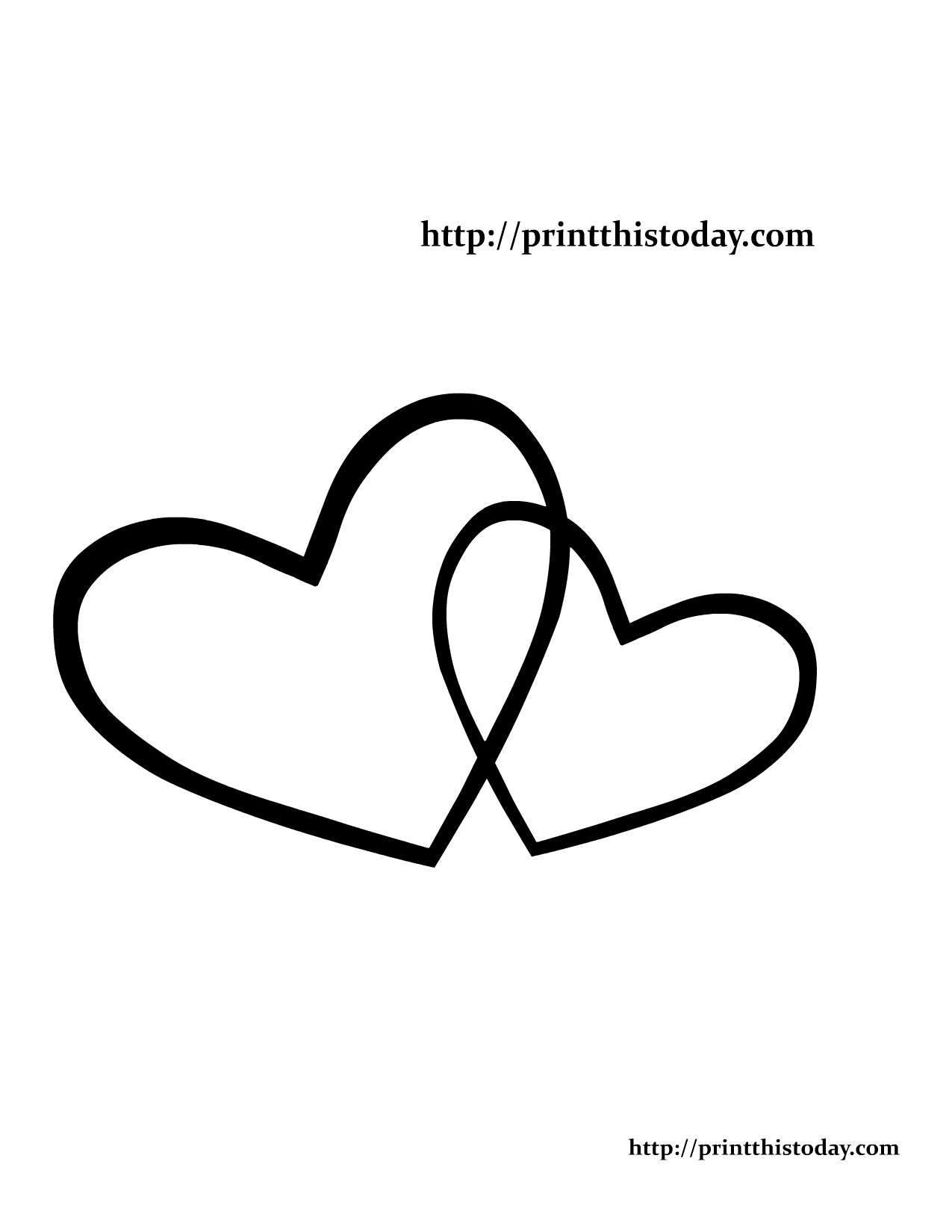 two hearts coloring page