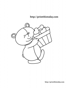 Teddy bear holding a basket of hearts coloring page