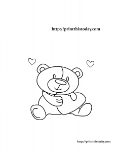 Teddy Bear and Hearts Coloring Page