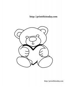 Coloring Page with Teddy Bear Holding a Heart