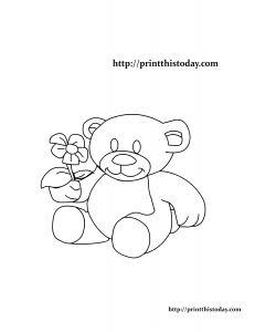 Free Printable Teddy Bear and Flower Coloring Page