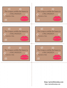 Love coupons printable for a big smooch