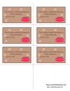 Free Printable Love coupons printable for a big smooch