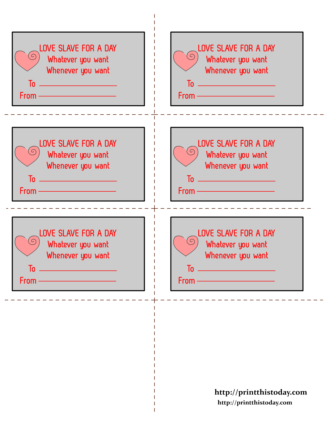 Free Printable Romantic Love Coupons