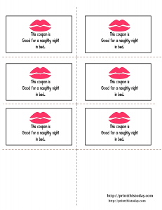 Printable coupons redeemable for naughty night in bed Printable