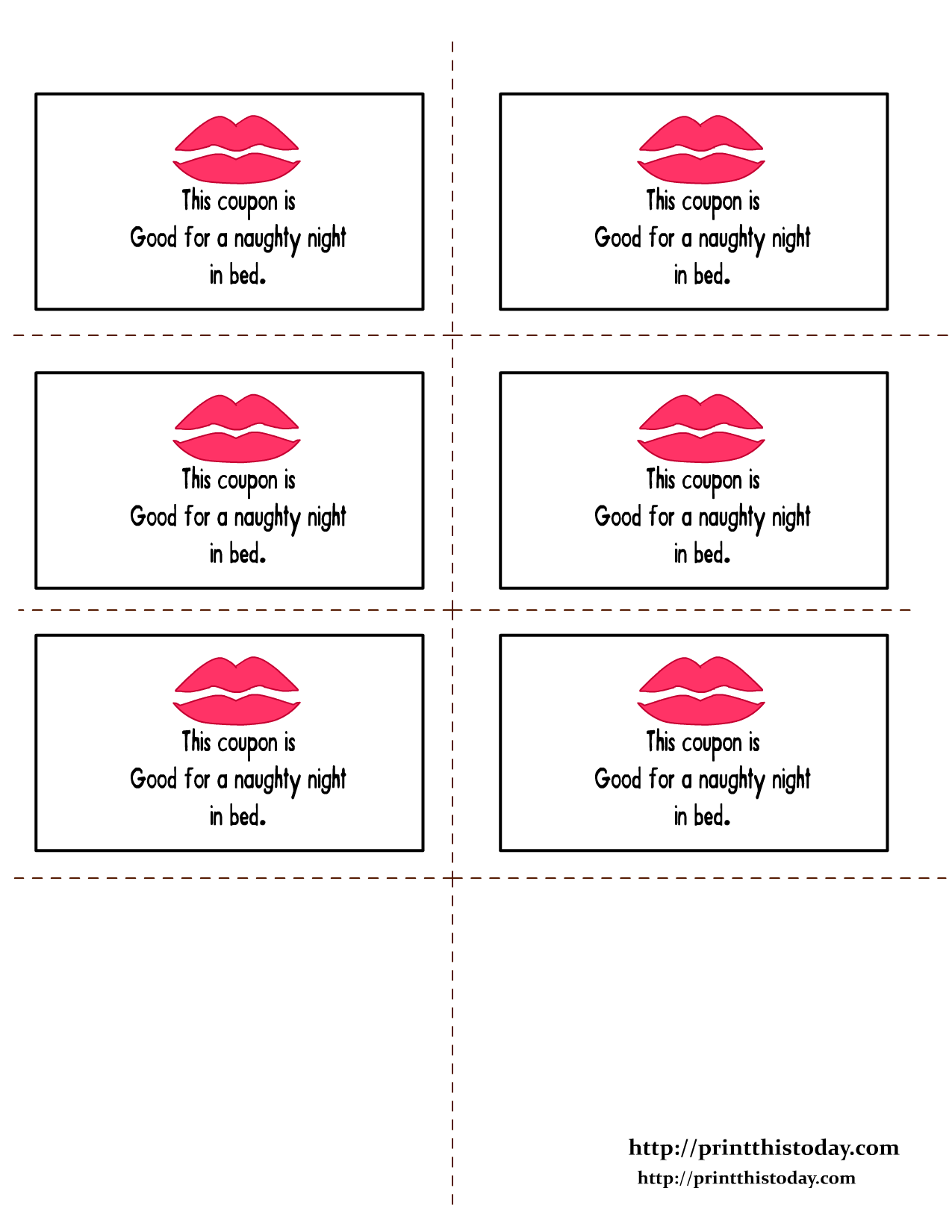 Romantic love coupons for Sex coupon template