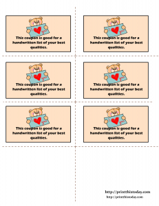 Redeemable Love coupons