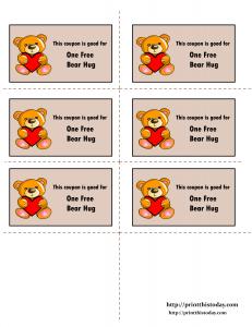 Love coupons for one free bear hug printable