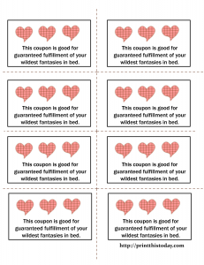 Coupons for fulfillment of your partner's wildest fantasies