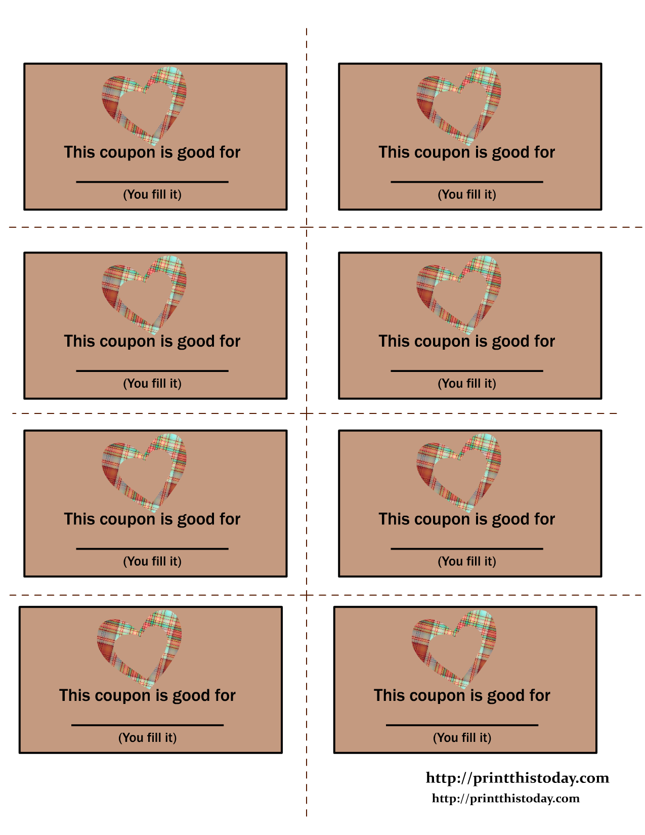 Blank Love Coupons Templates  Blank Coupon Templates