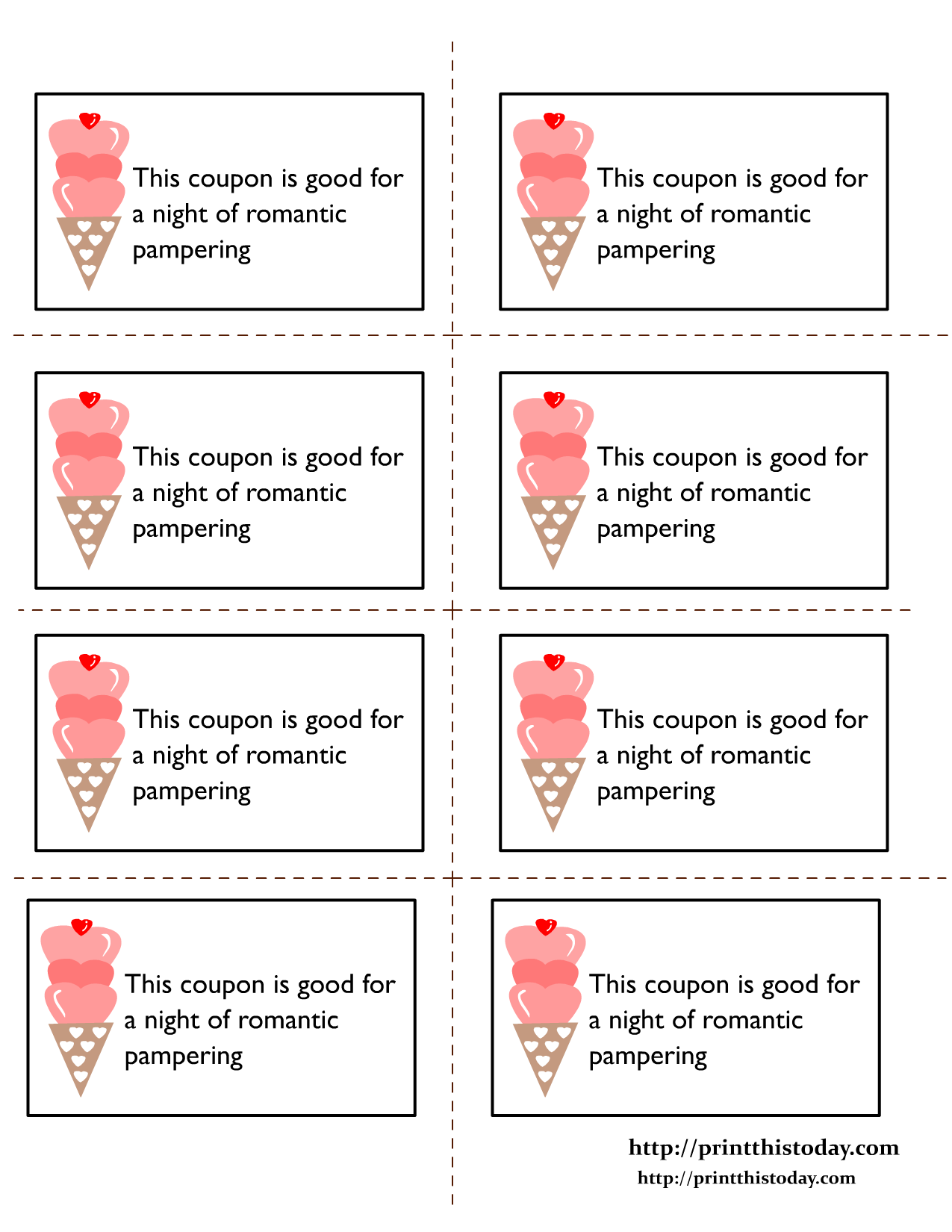 Printable love coupons for Romantic coupon book template