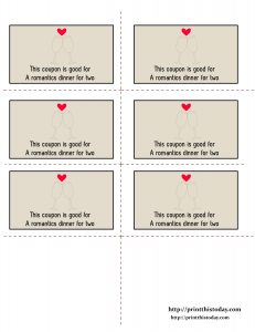 Free Printable A romantic dinner for two, Love coupon