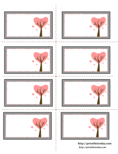 Free Printable Labels with Tree made of Hearts