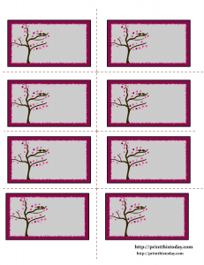 Valentine Labels with Love Birds on Tree
