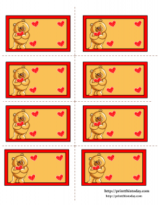 Labels with Teddy Bear Holding a Heart