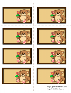 Free Printable Labels with Teddy Bear and Flower