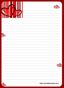 Free Printable Love letter writing paper with Hearts