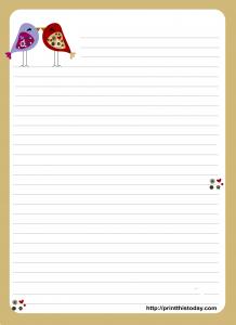 Free Printable Love Birds Love Letter Pad design