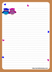 Free Printable Cute owl stationery paper