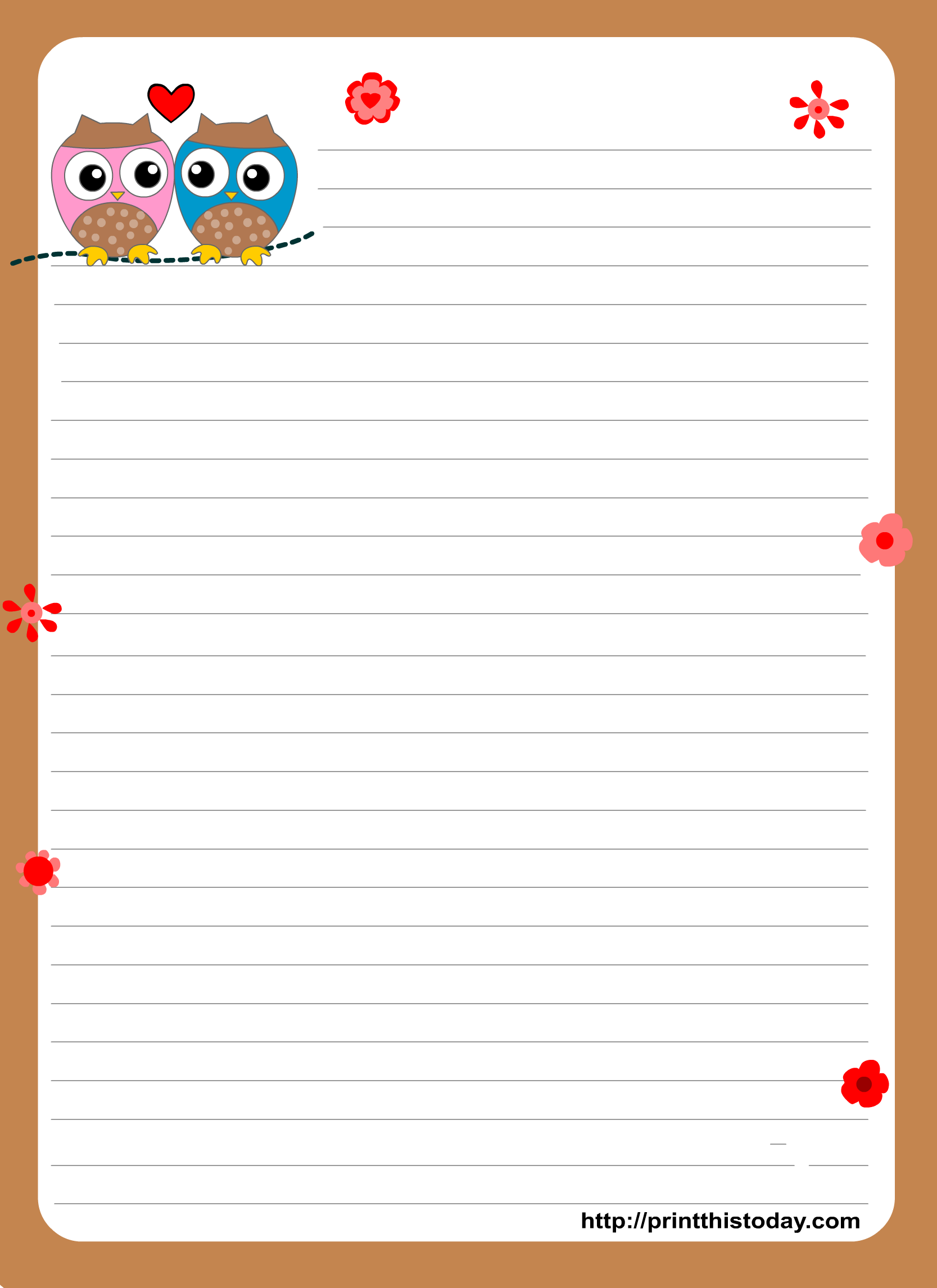 Owl Writing Paper Love Letter Stationery 17