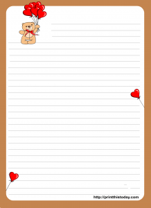 Letter pad stationery design with Teddy bear holding Balloons