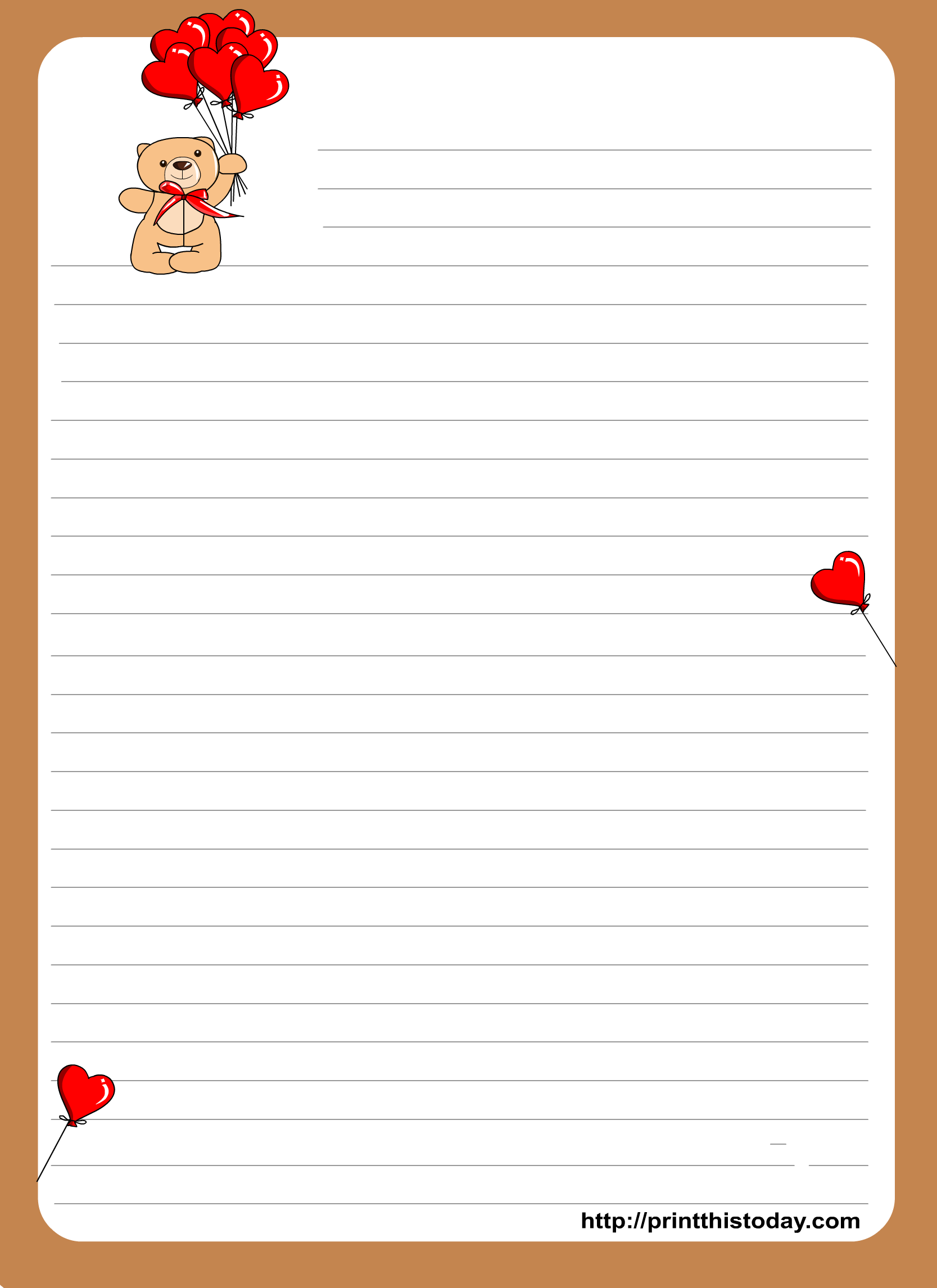 Teddy Bear writing paper for Kids