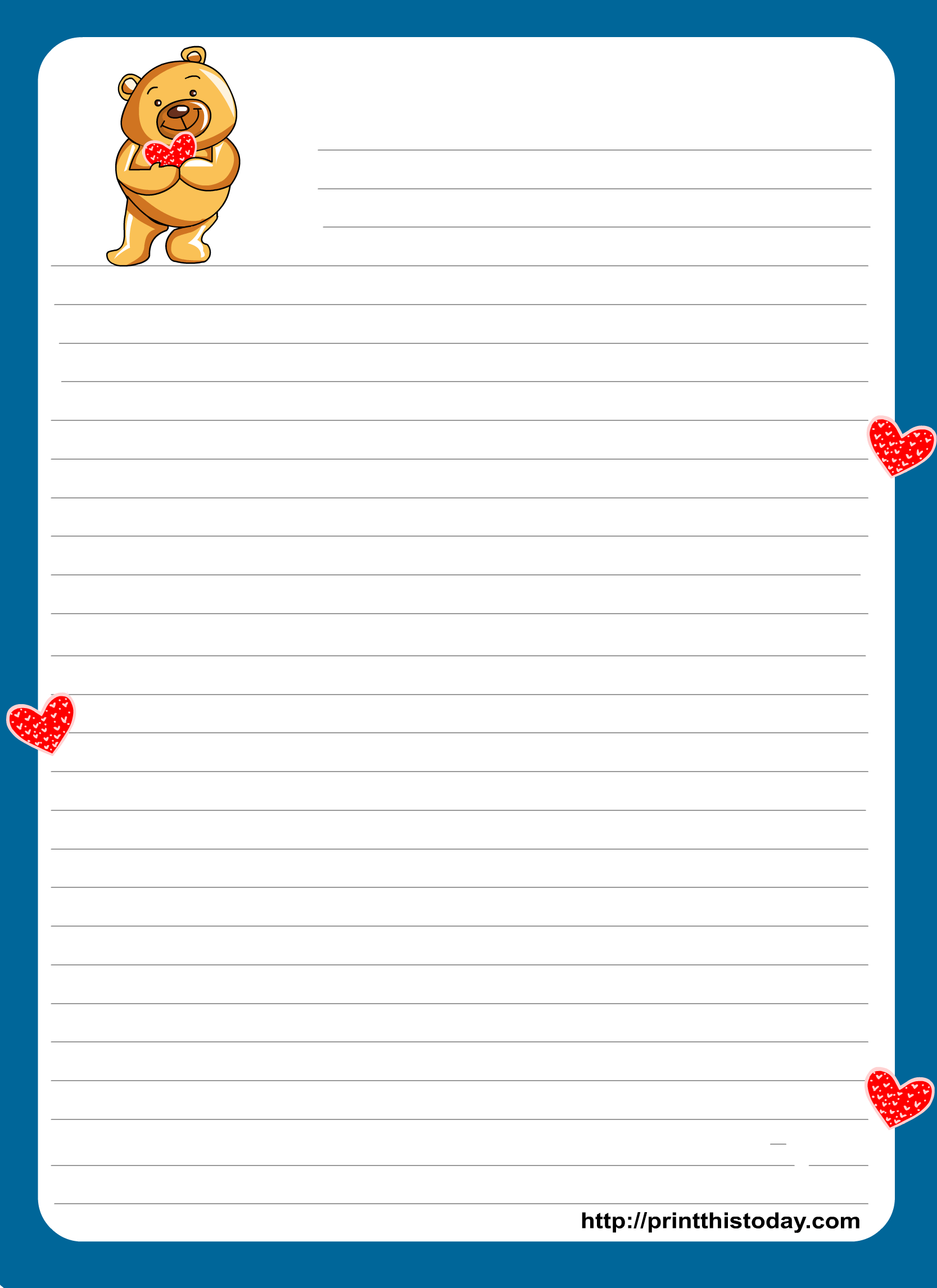 Teddy Bear Writing Paper For Kids Teddy Bear Writing Paper For Kids.  Printable ...