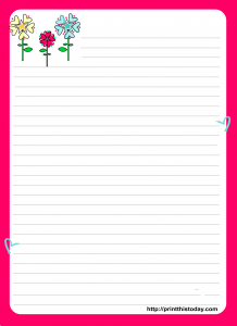 Free Printable Love letter Pad design with Colorful Flowers