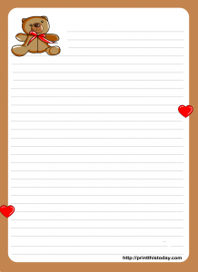 Cute letter pad stationery with Teddy Bear design