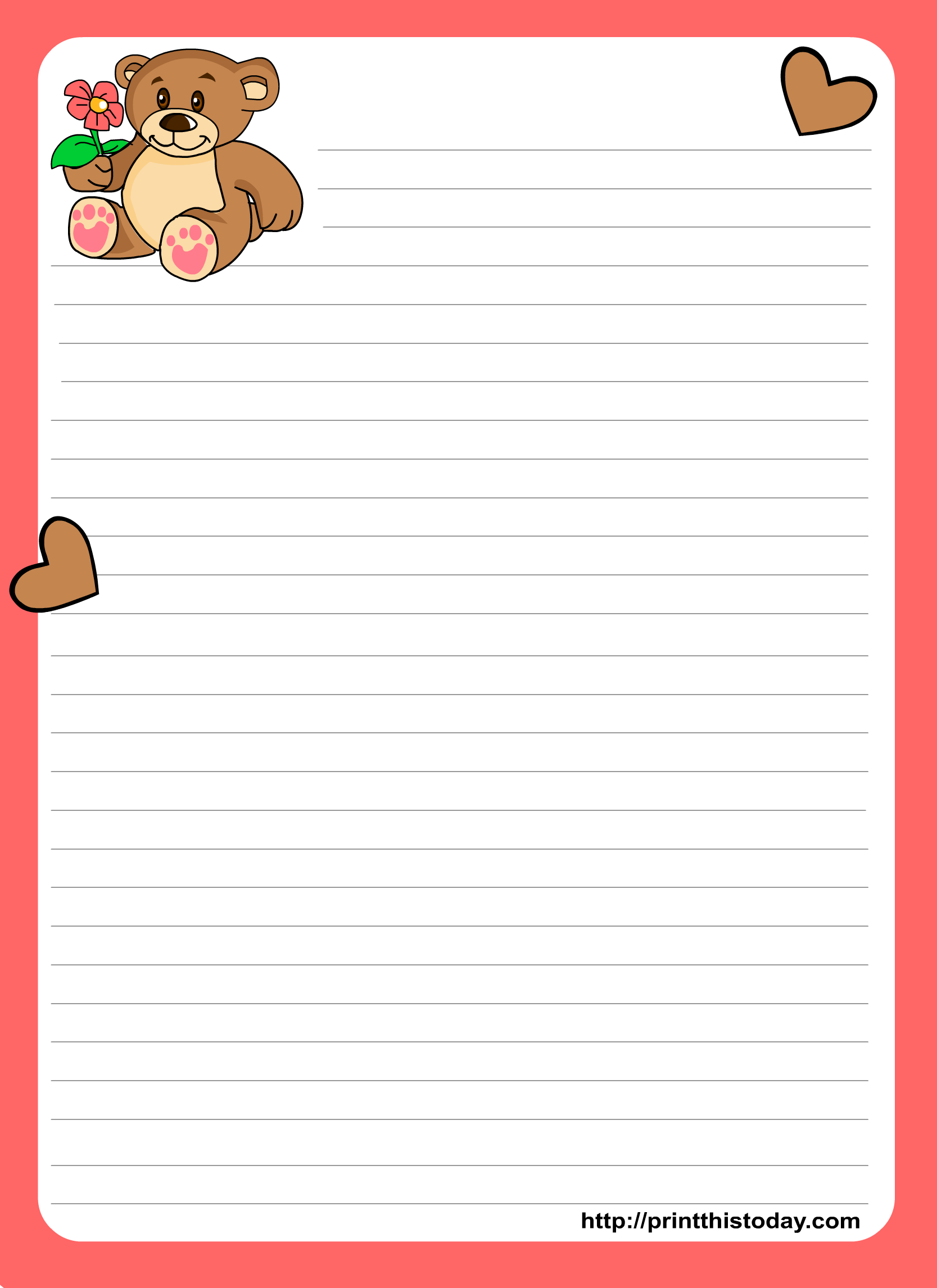 Letter pad stationery design featuring Teddy bear and flower