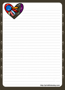 Free Printable Love Letter Pad Stationery with Colorful heart