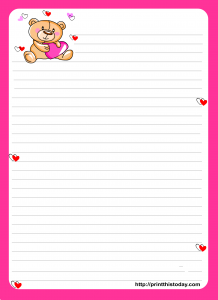 Cute Teddy Bear writing Paper with pink border