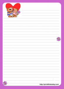 Love Letter writing paper with Teddy Couple